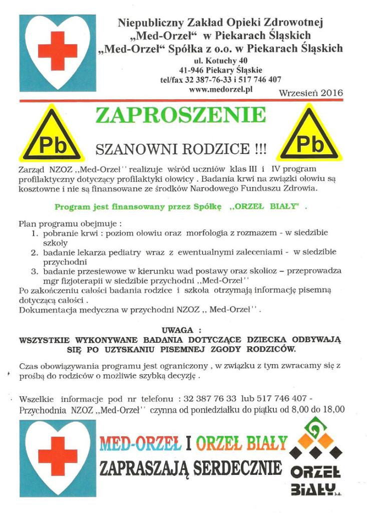 zaproszenie program profilaktyczny dotyczący profilaktyki ołowicy